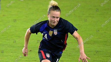 United States defender Becky Sauerbrunn (4) follows a play during the second half of a SheBelieves Cup women's soccer match against Argentina, in Orlando, Fla