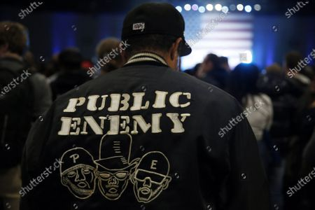 Noah Kaiser wears a Public Enemy jacket during a Bernie Sanders rally where Chuck D will play at the Los Angeles Convention Center on March 1, 2020, in Los Angeles, California. (Photo By Dania Maxwell / Los Angeles Times)