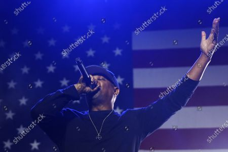 Rapper Chuck D performs with Public Enemy Radio during a Bernie Sanders rally at the Los Angeles Convention Center on March 1, 2020, in Los Angeles, California. (Photo By Dania Maxwell / Los Angeles Times)