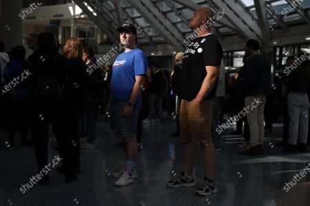 People wait to enter a Bernie Sanders rally at the Los Angeles Convention Center on March 1, 2020, in Los Angeles, California. (Photo By Dania Maxwell / Los Angeles Times)