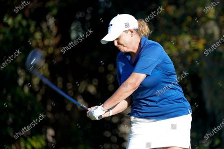 Stock Picture of Morgan Pressel hits a shot from the eighth tee during the first round of the Gainbridge LPGA golf tournament, in Orlando, Fla