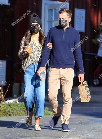 Jordana Brewster and Mason Morfit are seen getting coffee at the Brentwood Country Mart
