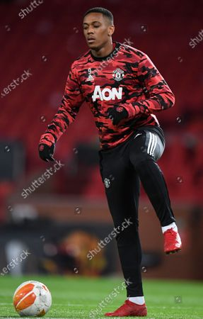 Manchester United's Anthony Martial warms up for the UEFA Europa League round of 32, second leg soccer match between Manchester United and Real Sociedad in Manchester, Britain, 25 February 2021.