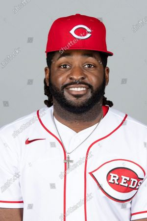 This is a 2021 photo of Dwight Smith Jr. of the Cincinnati Reds baseball team. This image reflects the Cincinnati Reds active roster as of when this image was taken