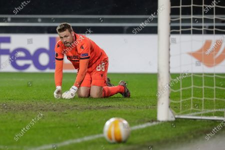 Brugge's goalkeeper Simon Mignolet reacts during the UEFA Europa League round of 32, second leg soccer match between Club Brugge and Dynamo Kiev in Bruges, Belgium, 25 February 2021.