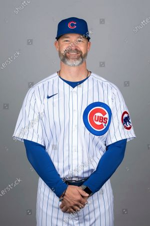 This is a 2021 photo of David Ross of the Chicago Cubs baseball team. This image reflects the Chicago Cubs active roster as of when this image was taken