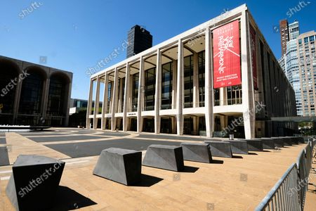 Stock Photo of David Geffen Hall at Lincoln Center, closed during COVID-19 lockdown, in New York. Lincoln Center intends to emerge from the novel coronavirus pandemic by creating 10 outdoor stages for performances and rehearsals in New York City to launch starting April 7