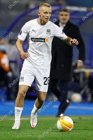 Krasnodar's Igor Smolnikov in action during the Europa League round of 32 second leg soccer match between Dinamo Zagreb and Krasnodar at the Maksimir stadium in Zagreb, Croatia