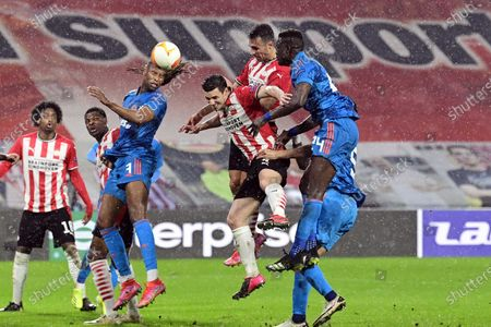 Eran Zahavi (up C) of Eindhoven scores the 1-0 lead during the UEFA Europa League round of 32, second leg soccer match between PSV Eindhoven and Olympiacos Piraeus in Eindhoven, Netherlands, 25 February 2021.