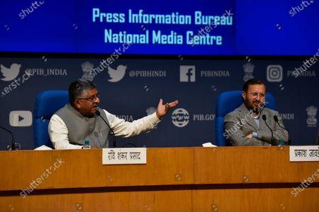 Editorial photo of Union ministers Prakasah Javadekar And Ravi Shankar Prasad Announced New Social Media Guidelines, New Delhi, Delhi, India - 25 Feb 2021