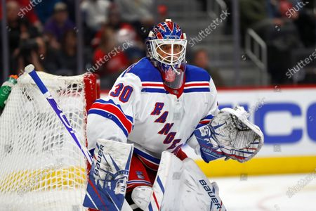 New York Rangers goaltender Henrik Lundqvist plays against the Detroit Red Wings in the second period of an NHL hockey game in Detroit. Lundqvist says he is months away from making a decision about his hockey-playing future after returning to the ice less than two months since undergoing open-heart surgery