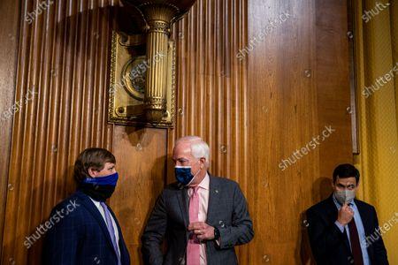 United States Senator John Cornyn (Republican of Texas) arrives at the Senate Finance Committee hearing at the US Capitol in Washington, DC. Katherine Tai is President Joe Biden's pick for US Trade Representative.