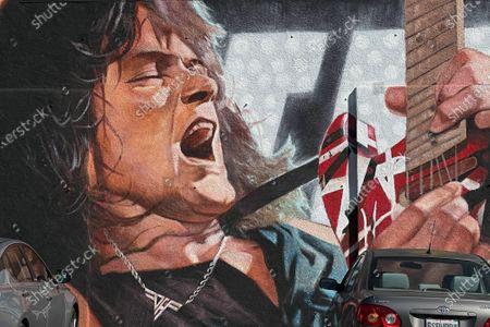 Eddie Van Halen mural on the Guitar Center building in Hollywood