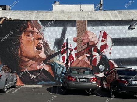 Stock Photo of Eddie Van Halen mural on the Guitar Center building in Hollywood