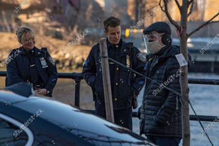 "Vanessa Ray and Will Estes are seen on a film production trailer during the filming of the television show ""Blue Bloods"" season eleven in Astoria Park in New York City."