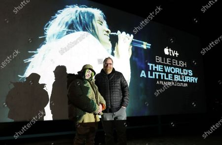 """Billie Eilish and Director RJ Cutler at Apple's """"Billie Eilish: The World's A Little Blurry"""" Live Premiere Event. """"Billie Eilish: The World's A Little Blurry"""" film is now streaming on Apple TV+."""
