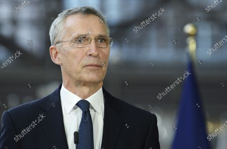 Secretary General Jens Stoltenberg speaks to the media ahead of an EU summit video conference on security and defense issues at the European Council building in Brussels, . NATO Secretary General Jens Stoltenberg and European Council President Charles Michel are taking part in a videoconference with EU leaders on Friday, focused on ways to boost cooperation and avoid doubling up on security issues between the military alliance and the 27-nation bloc
