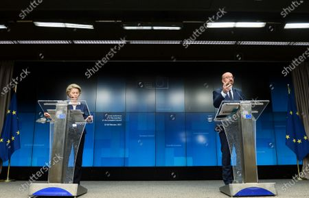 European Council President Charles Michel, right, and European Commission President Ursula von der Leyen participate in a media conference at the end of an EU summit in Brussels, . NATO Secretary General Jens Stoltenberg joined a videoconference with EU leaders on Friday, to focus on ways to boost cooperation and avoid doubling up on security issues between the military alliance and the 27-nation bloc