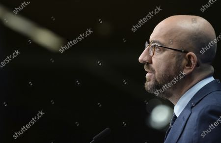 European Council President Charles Michel speaks during a media conference at the end of an EU summit in Brussels, . NATO Secretary General Jens Stoltenberg joined a videoconference with EU leaders on Friday, to focus on ways to boost cooperation and avoid doubling up on security issues between the military alliance and the 27-nation bloc