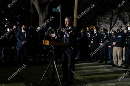 PBA President Patrick Lynch speaks at annual vigil for police officer Edward Byrne killed in the line of duty in 1988 on the corner of 107th Avenue and Inwood street. PO Byrne was sitting in the car protecting witness when he was killed by gang members. Since his murder police officers of New York hold annual vigil on that same place.
