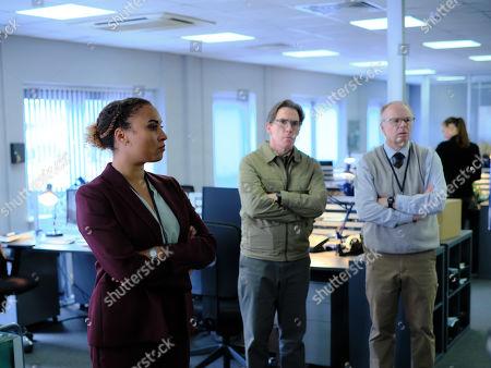 Jason Watkins as DS Dodds, Tala Gouveia as DCI Lauren McDonald and Rob Brydon as Roy Gilbert.