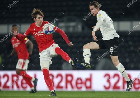 Nottingham Forest's James Garner battles with Derby County's Max Bird