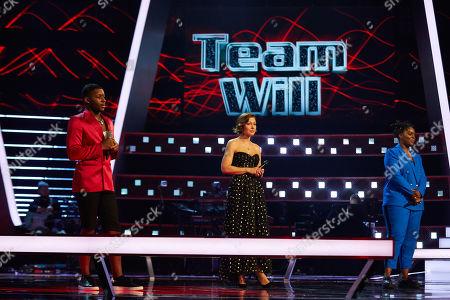 Battles: Team Will: Janel Antoneshia and Okulaja perform, watched by Emma Willis