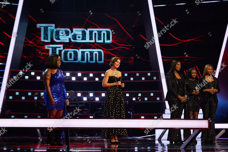 Battles: Team Sir Tom: Mariam Davina and Pslam Harmony [CJ, Emmanuella and Chelsea] perform, watched by Emma Willis