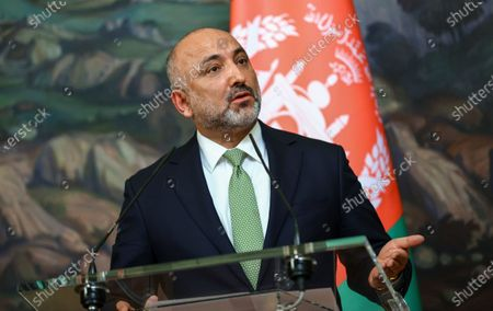 Afghanistan's Foreign Minister Mohammad Hanif Atmar attends a press conference with Russian Foreign Minister Sergei Lavrov during their meeting in Moscow, Russia, 26 February 2021.