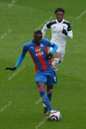 Cheikhou Kouyate of Crystal Palace (8) and Josh Maja of Fulham (27)