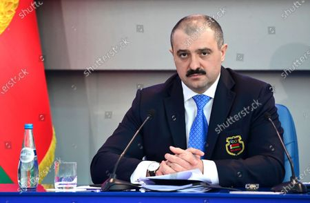 Viktor Lukashenko, an oldest son of the Belarusian President Alexander Lukashenko, attends the Belarusian Olympic Committee session in Minsk, Belarus, . Viktor Lukashenko, who advises his father on national security, was previously the national Olympic body's vice president under his father, whose disputed victory in state elections last August led to ongoing protests in the former Soviet republic. The Belarusian Olympic Committee elected the son of President Alexander Lukashenko as leader on Friday, despite both men being suspended by the IOC and barred from the Tokyo Games