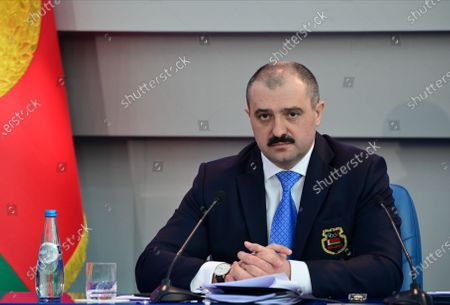 The oldest son of Belarusian President Alexander Lukashenko, Viktor Lukashenko, is seen, after he was elected as head of the National Olympic Committee (NOC) of Belarus, during a meeting in Minsk, Belarus, 26 February 2021. Viktor Lukashenko succeeds his father who chaired the committee for 23 years.
