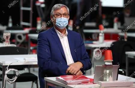 Bernd Riexinger, co-chairman of the German Die Linke (The Left) party, attends the first day of the party's virtual congress in Berlin, Germany, 26 February 2021. The new party co-leaders will be chosen at the conference, held virtually amidst the ongoing coronavirus (COVID-19) pandemic, on the following day.
