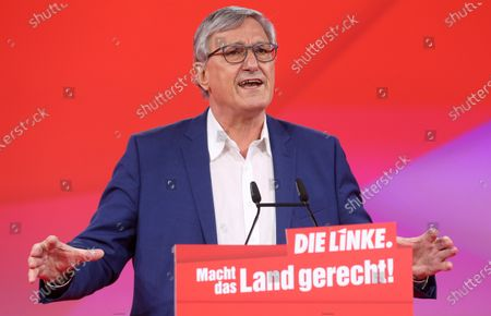 Bernd Riexinger, co-chairman of the German Die Linke (The Left) party, speaks during the first day of the party's virtual congress in Berlin, Germany, 26 February 2021. The new party co-leaders will be chosen at the conference, held virtually amidst the ongoing coronavirus (COVID-19) pandemic, on the following day.