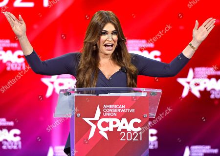 Stock Picture of Kimberly Guilfoyle addresses attendees at the Conservative Political Action Conference (CPAC) 2021 hosted by the American Conservative Union at the Hyatt Regency Orlando