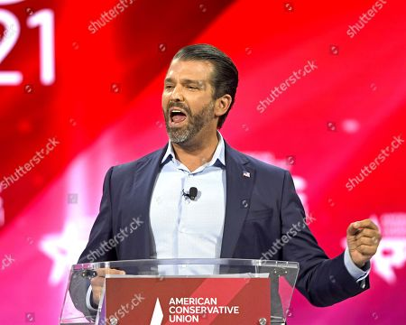 Donald Trump Jr. addresses attendees at the Conservative Political Action Conference (CPAC) 2021 hosted by the American Conservative Union at the Hyatt Regency Orlando
