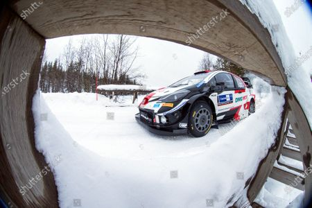 Sebastien Ogier of France drives his Toyota Yaris WRC during Day 1 of the Arctic Rally Rovaniemi Finland 2021 as part of the FIA World Rally Championship (WRC) near Rovaniemi, Finland, 26 February 2021.