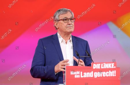 Bernd Riexinger, co-chairman of the German Die Linke (The Left) party, speaks during the first day of the party's virtual congress on February 26, 2021 in Berlin, Germany. The new party co-leaders will be chosen at the conference, held virtually amidst the ongoing coronavirus (COVID-19) pandemic, on the following day.