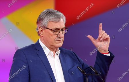 Stock Photo of Bernd Riexinger, co-chairman of the German Die Linke (The Left) party, speaks during the first day of the party's virtual congress on February 26, 2021 in Berlin, Germany. The new party co-leaders will be chosen at the conference, held virtually amidst the ongoing coronavirus (COVID-19) pandemic, on the following day.