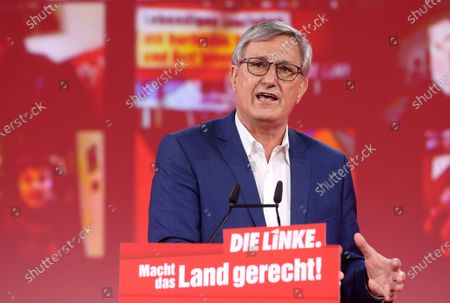 Stock Image of Bernd Riexinger, co-chairman of the German Die Linke (The Left) party, speaks during the first day of the party's virtual congress on February 26, 2021 in Berlin, Germany. The new party co-leaders will be chosen at the conference, held virtually amidst the ongoing coronavirus (COVID-19) pandemic, on the following day.