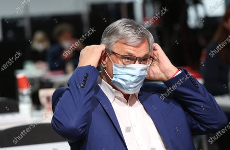 Bernd Riexinger, co-chairman of the German Die Linke (The Left) party, attends the first day of the party's virtual congress on February 26, 2021 in Berlin, Germany. The new party co-leaders will be chosen at the conference, held virtually amidst the ongoing coronavirus (COVID-19) pandemic, on the following day.