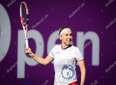 Elena Vesnina of Russia during practice ahead of the 2021 Qatar Total Open WTA 500 tournament.