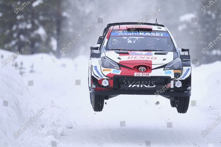 Sebastien Ogier of France and his co-driver Julien Ingrassia of France steer their Toyota Yaris WRC car during the first stage of during the FIA WRC Arctic Lapland Rally in Rovaniemi, Finland, on February 26, 2021.