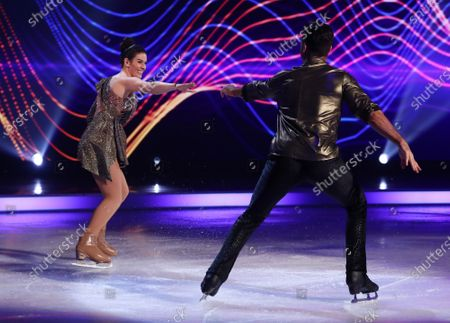 Rebekah Vardy and Andy Buchanan during the skate-off