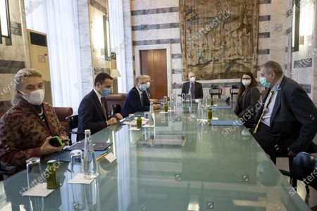 Italian Foreign Minister Luigi Di Maio (C-L) and Special Representative of the United Nations Secretary-General for Afghanistan  Jan Kubis (C-R) during their meeting at the Farnesina Palace in Rome, Italy, 26 February 2021.