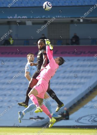 Michail Antonio of West Ham United in action with Ederson Moraes of Manchester City