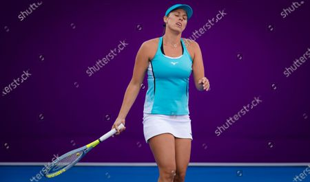 Stock Picture of Andreja Klepac of Slovenia in action during the first qualifications round of the 2021 Qatar Total Open WTA 500 tournament.