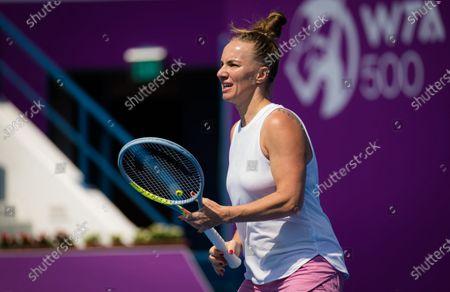 Stock Photo of Svetlana Kuznetsova of Russia during practice ahead of the 2021 Qatar Total Open WTA 500 tournament.