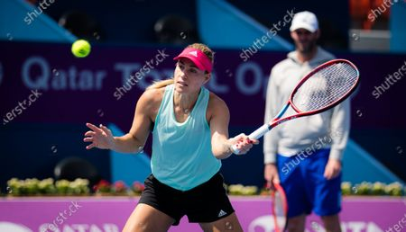 Angelique Kerber of Germany during practice ahead of the 2021 Qatar Total Open WTA 500 tournament.