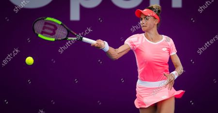 Stock Photo of Lesia Tsurenko of Ukraine in action during the second qualifications round of the 2021 Qatar Total Open WTA 500 tournament.